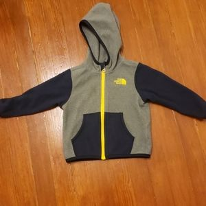 The North Face infant boys zip up hooded fleece